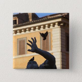 広場のNavona Berniniの噴水の彫像、ハト 5.1cm 正方形バッジ
