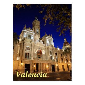 広場Ayuntamiento、バレンシア、スペインのNightview ポストカード