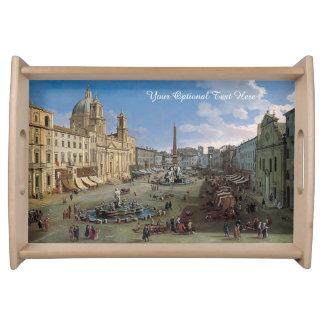 広場Navonaのローマの芸術のカスタムなサービングの皿 トレー