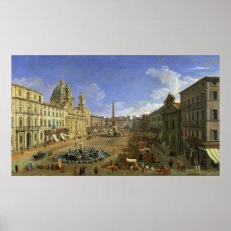 広場Navona、ローマの眺め ポスター