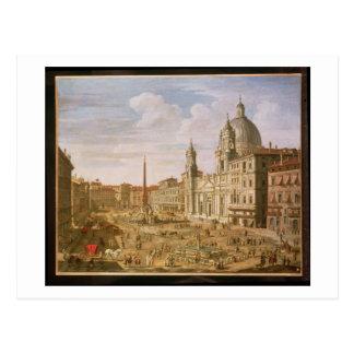 広場Navona、Palazzoの方に南に見るローマ ポストカード