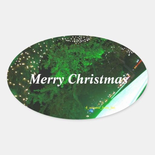 広島市ドリミネーションでのムードある緑色の写真を元にメリークリスマスのシールを作成☆ 卵形シールステッカー