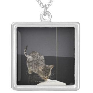 床からの銀製の虎猫猫の飲むクリーム シルバープレートネックレス
