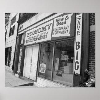 店先のフィラデルヒィアの白黒写真 ポスター