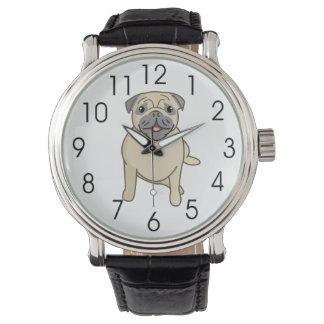 座る幸せなパグデジタル絵 腕時計