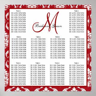 座席の図表の赤のダマスク織を結婚するテンプレート ポスター