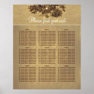座席の図表を結婚するオークの木の枝 ポスター
