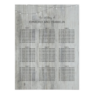 座席の図表を結婚する木およびひもライト ポスター
