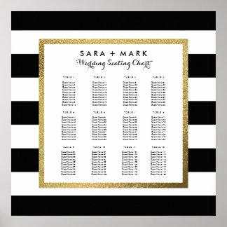 座席の図表を結婚する黒い及び白のストライプ ポスター