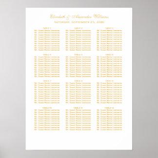座席の図表 ポスターを結婚するシンプルでエレガントな金ゴールド ポスター