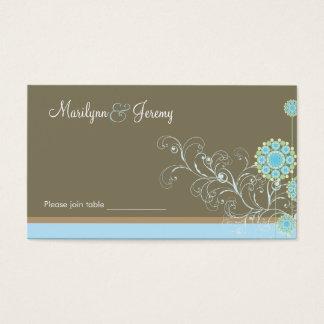 座席表を結婚するエレガントで青い雪の花の渦巻 名刺