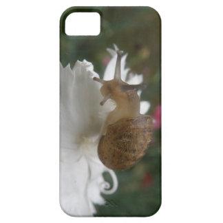庭かたつむりおよび白いカーネーションのiPhone 5の箱 iPhone SE/5/5s ケース