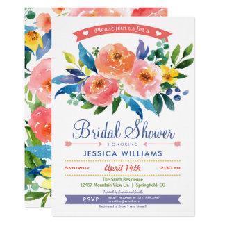 庭のシャクヤクのブライダルシャワーの招待状 12.7 X 17.8 インビテーションカード