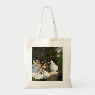庭のトートバックのMonetの女性 トートバッグ