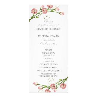 庭のバラの結婚式プログラム ラックカード