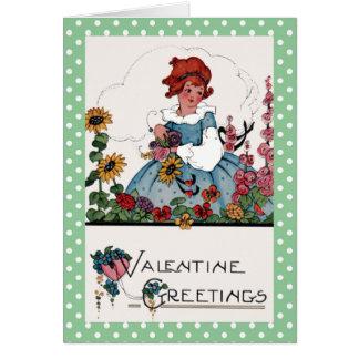 庭のバレンタインの小さな女の子 カード
