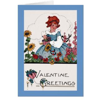 庭のバレンタインの挨拶 カード