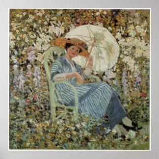 庭のファインアートポスターの女性 ポスター