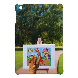 庭のブラシが付いている漫画を絵を描くことの後をつけて下さい iPad MINI CASE