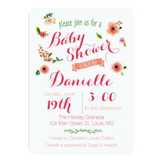 庭のベビーシャワーの招待状 カード