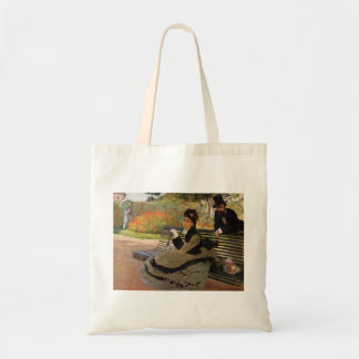 庭のベンチのカミーユMonet -クロード・モネ トートバッグ