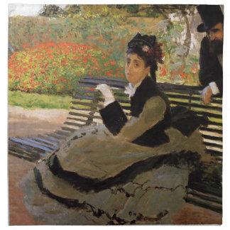 庭のベンチのカミーユMonet -クロード・モネ ナプキンクロス