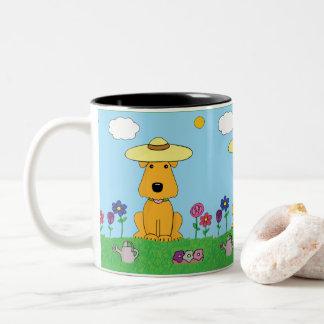 庭のマグの漫画のAiredaleテリア犬! ツートーンマグカップ