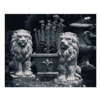 庭のライオン フォトプリント