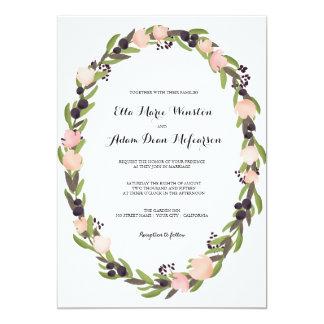 庭のリースの結婚式招待状 カード
