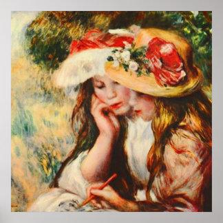 庭のルノアールのファインアートで読んでいる2人の女の子 ポスター