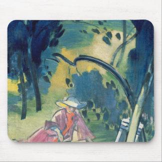 庭の女性 マウスパッド