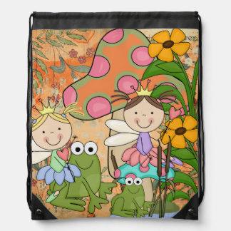 庭の妖精のドローストリングのバックパックのバッグ ナップサック
