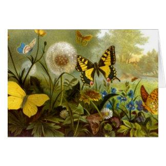 庭の庭師のサンキューカードの蝶訪問 カード