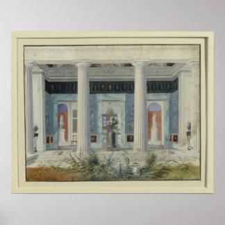 庭の柱廊玄関、c.1834 ポスター