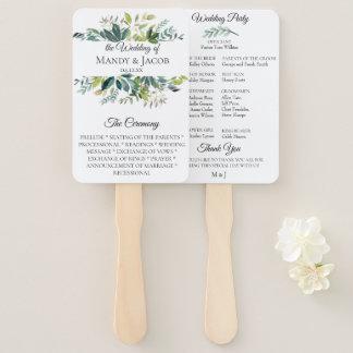 庭の緑の草木の花束の結婚式プログラムファン ハンドファン