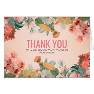 庭の花のヴィンテージの結婚は感謝していしています カード