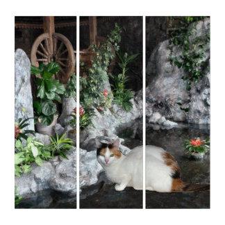 庭の茶色のぶち猫 トリプティカ