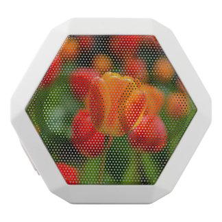 庭の赤いおよびオレンジチューリップ ホワイトBluetoothスピーカー