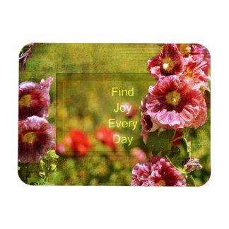庭のHollyhockの花柄の喜び マグネット