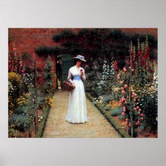 庭のLeightonの女性 ポスター