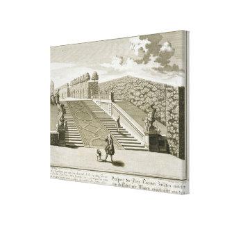 庭台地、Belvedere宮殿へのステップは、竸います キャンバスプリント