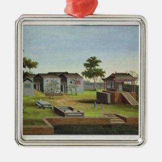 庭場面、c.1820-40 (w/c紙で) 3 メタルオーナメント