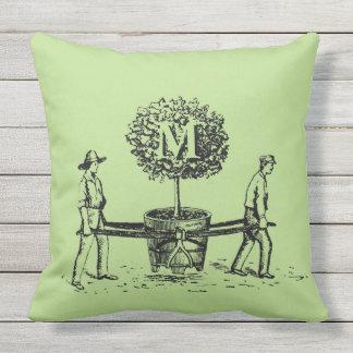 庭師および木のモノグラムの屋外の枕1 クッション