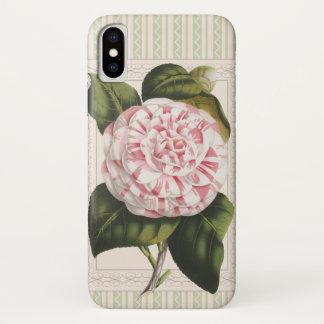 庭師の喜びのヴィンテージのピンクおよび白いツバキ iPhone X ケース
