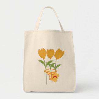 庭師の花屋の黄色のチューリップの花束 トートバッグ
