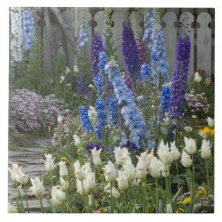 庭道、ジョージアに沿う春の花 タイル