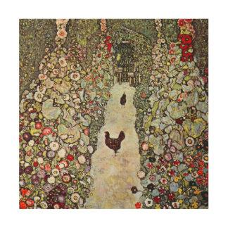 庭道wの鶏、グスタフのクリムト、アールヌーボー ウッドウォールアート
