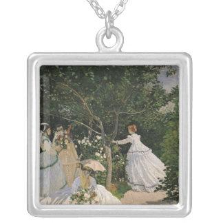 庭1866年のクロード・モネ の女性 シルバープレートネックレス
