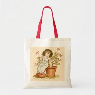 庭、かわいい幼児予算のトートバックの美しい女の子 トートバッグ