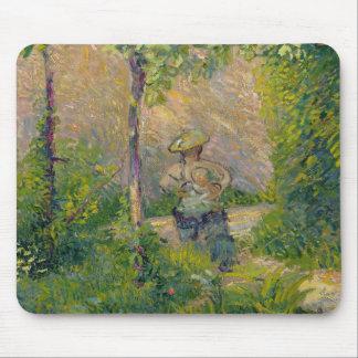 庭(キャンバスの油)の女性 マウスパッド